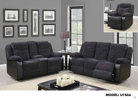 Global Furniture Console Reclining Loveseat Jasmine Mouse(Dtc87-11)/Qpu011-Sofas-HipBeds.com
