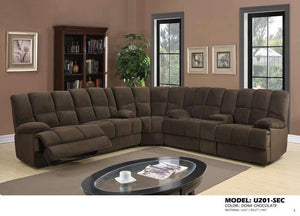Global Furniture Sectional Dona Chocolate-Sofas-HipBeds.com