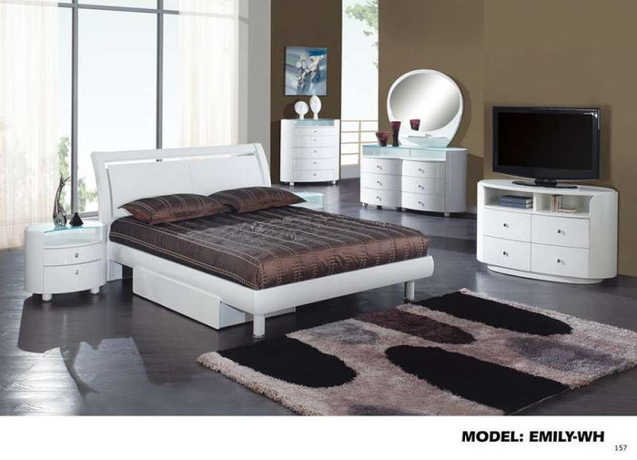 Global Furniture Full Bed, White, Mdf, Wood Veneer