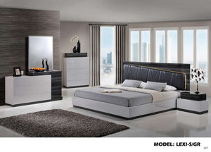 Global Furniture Queen Bed Silver Line & Zebra Grey Bl Pu-Beds-HipBeds.com