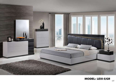 Global Furniture Nightstand Silver Line & Zebra Grey-Nightstands-HipBeds.com