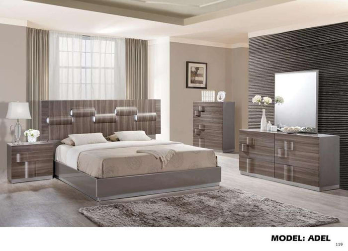 Global Furniture Queen Bed Grey Hg & Zebra Wood