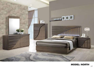 Global Furniture King Bed Zebra Wood/Gold Line-Beds-HipBeds.com
