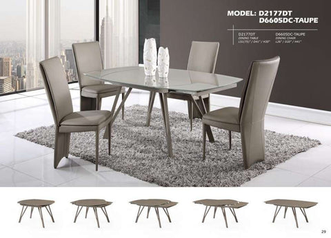 Global Furniture Dining Table Champagne Shiny/Matt-Dining Tables-HipBeds.com