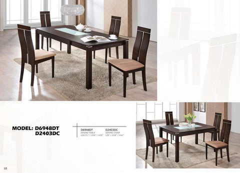 Global Furniture Dining Table W/ Extension Dark Walnut-Dining Tables-HipBeds.com