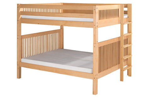 Camaflexi Bunk Bed - Camaflexi Full over Full Bunk Bed - Mission Headboard - Bed End Ladder - Natural Finish  - C1611L_NT-Bunk Bed-HipBeds.com