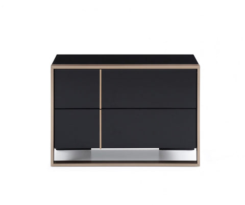Nova Domus Cartier Modern Black & Brushed Bronze Nightstand-Nightstands-HipBeds.com