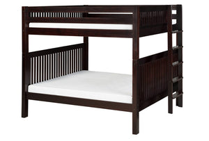 Camaflexi Bunk Bed - Camaflexi Full over Full Bunk Bed - Mission Headboard - Bed End Ladder - Cappuccino Finish - C1612L_CP-Bunk Beds-HipBeds.com