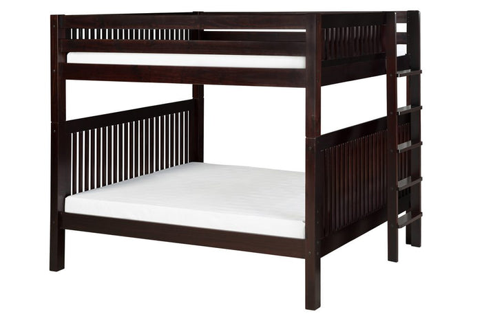 Camaflexi Bunk Bed - Camaflexi Full over Full Bunk Bed - Mission Headboard - Bed End Ladder - Cappuccino Finish  - C1612L_CP