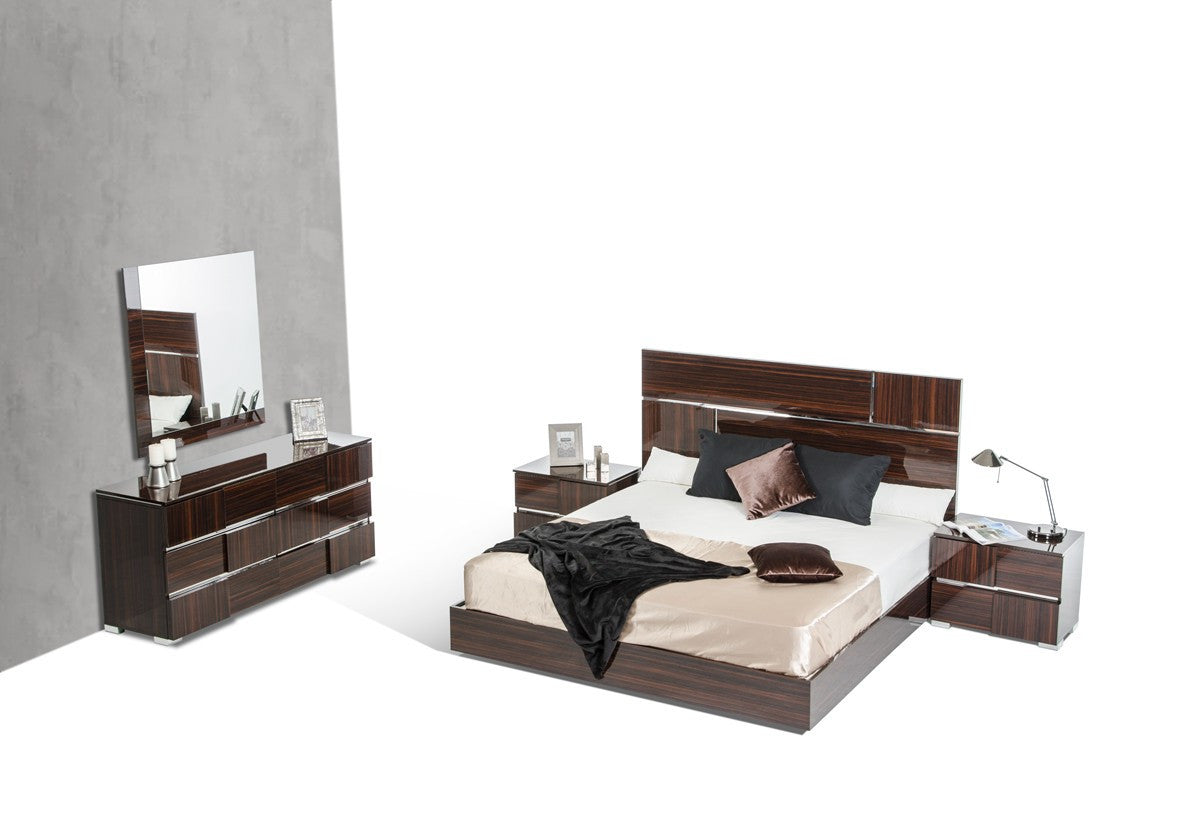 VIG Furniture Modrest Picasso Italian Modern Ebony Lacquer Bedroom Set