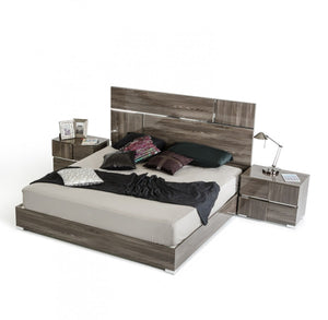 VIG Furniture Modrest Picasso Italian Modern Grey Lacquer Bed