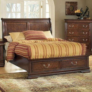 ACME Hennessy California King Bed w/Storage Brown Cherry - 19445CK-Platform Beds-HipBeds.com