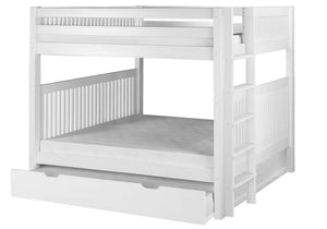 Camaflexi Bunk Bed - Camaflexi Full over Full Bunk Bed with Twin Trundle - Mission Headboard - Bed End Ladder - White Finish - C1613L_TR-Bunk Beds-HipBeds.com