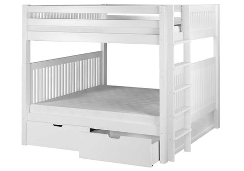Camaflexi Bunk Bed - Camaflexi Full over Full Bunk Bed with Drawers - Mission Headboard - Bed End Ladder - White Finish - C1613L_DR-Bunk Beds-HipBeds.com