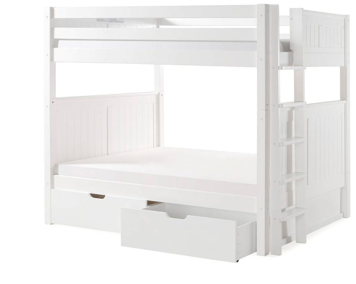 Camaflexi Bunk Bed - Camaflexi Full over Full Bunk Bed with Drawers - Panel Headboard - Bed End Ladder -White Finish  - C1623L_DR