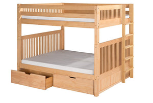 Camaflexi Bunk Bed - Camaflexi Full over Full Bunk Bed with Drawers - Mission Headboard - Bed End Ladder - Natural Finish - C1611L_DR-Bunk Beds-HipBeds.com