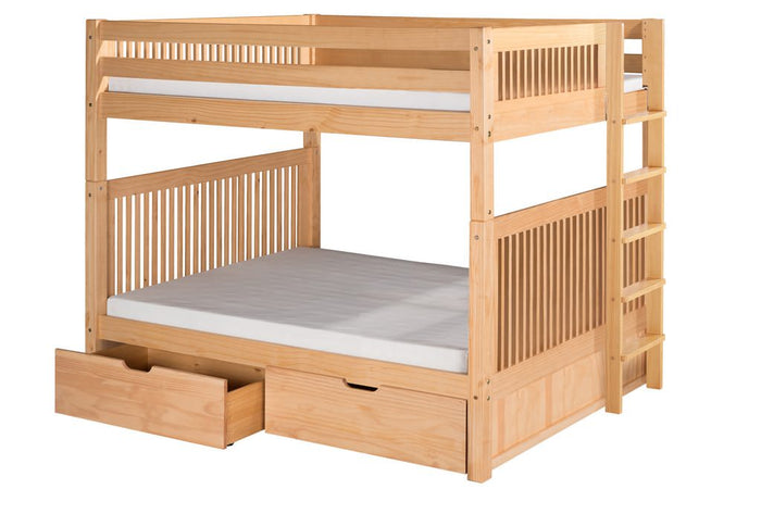 Camaflexi Bunk Bed - Camaflexi Full over Full Bunk Bed with Drawers - Mission Headboard - Bed End Ladder - Natural Finish - C1611L_DR