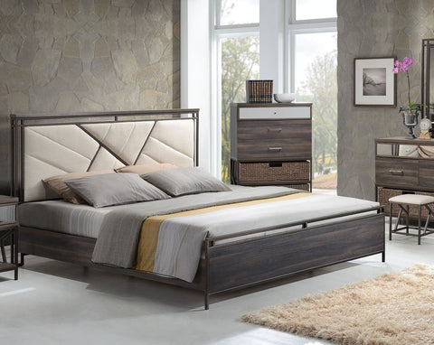 ACME Adrianna Eastern King Bed Cream Cotton Fabric & Walnut - 20947EK-Panel Beds-HipBeds.com