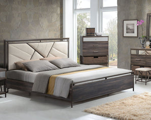 ACME Adrianna California King Bed Cream Cotton Fabric & Walnut - 20944CK-Panel Beds-HipBeds.com