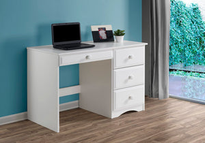 Camaflexi Table - Essentials Writing Desk with Four Drawers - White Finish - 41123-Table-HipBeds.com