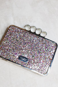 Nine West Glitter Clutch with Knuckle Clasp