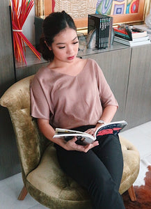 Tan Gan brown wide neck blouse
