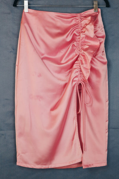 Pomelo pink silk one side slit skirt