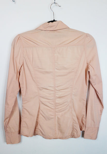 HopeShow peach buttoned long sleeve polo