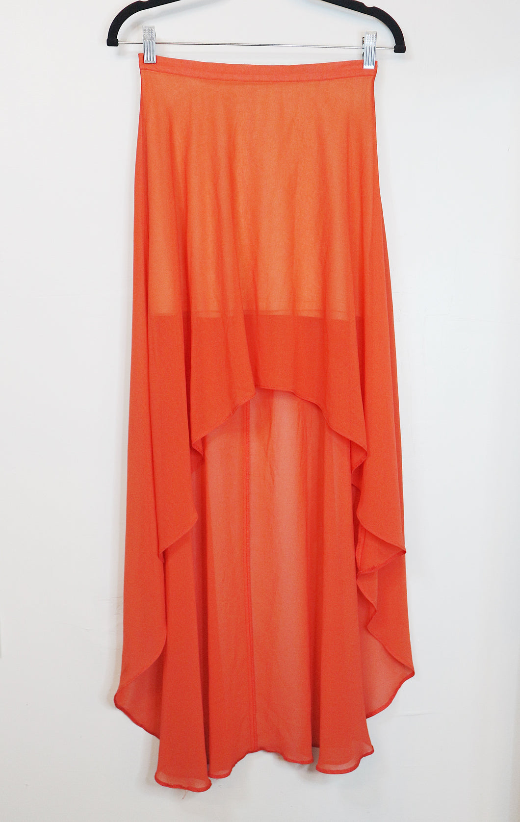 Topshop coral orange high low chiffon skirt