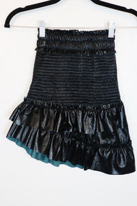 Storets black patent leather with pleats skirt