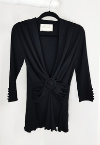 Jane Uda black low vneckline with belt blouse