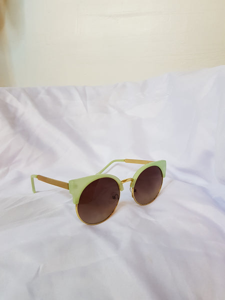 Sunnies gold with green semi rimless sunglasses