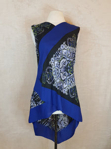 BCBG black blue long back sleeveless dress