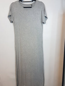 NA grey with one side slit long dress