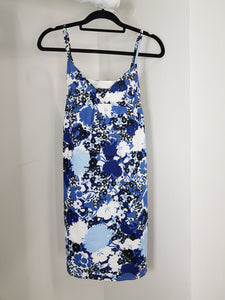 Ann Taylor blue slip dress with floral print and ribbon