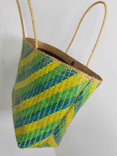 NA green yellow straw basket bag