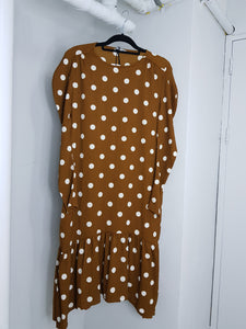 Zara brown with polka dots design long sleeve dress