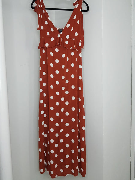 Forever 21 brown with polka dots design midrib with leash long dress