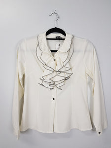 Yi Li white with ruffled collared blouse