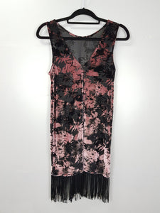 Topshop black with floral design velvet sleeveless dress