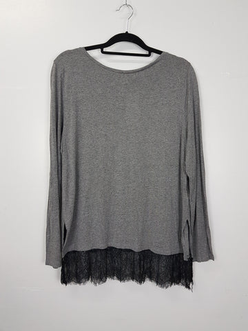 H&M grey long sleeve blouse
