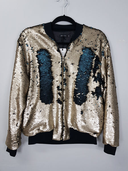 Stradivarius gold sequined jacket
