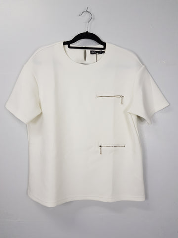 Something Borrowed white with zipper in front blouse