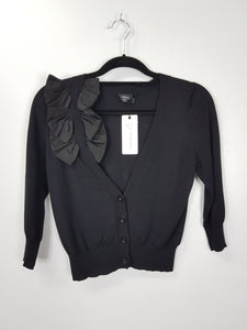 Roo black cardigan with ribbon detail