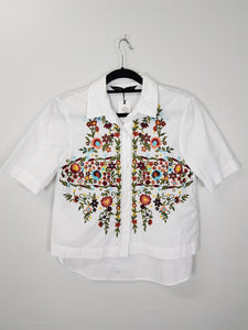 Zara white with floral threadded design blouse