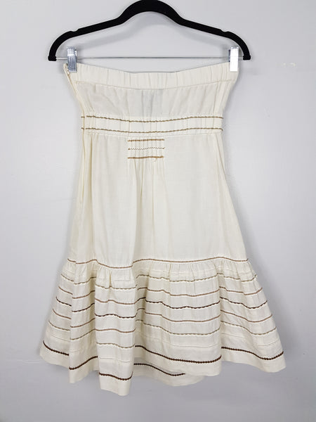 Beige tube dress with gold thread detail