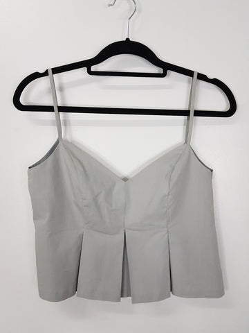 The Open grey spaghetti strap crop top