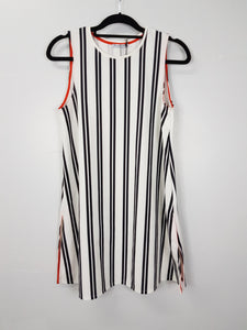 Zara white with black lines sleeveless dress