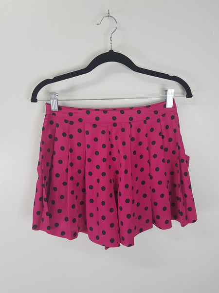 Forever 21 pink with black polka dots shorts