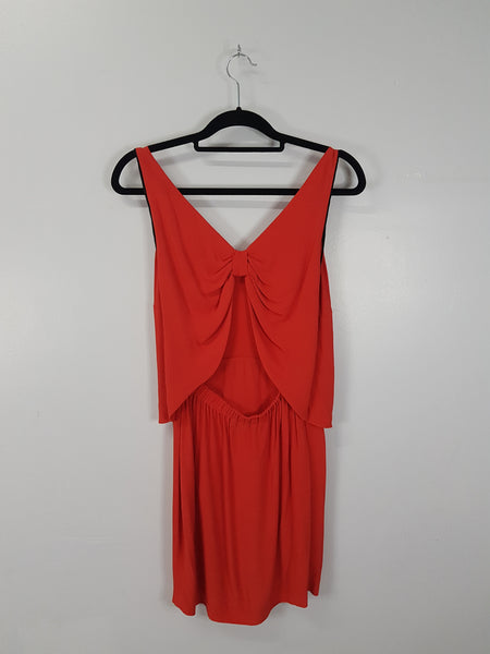 Sandro red open back sleeveless dress